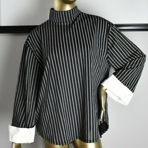 ZARA TRAFALUC Black White Stripe Top oversized M